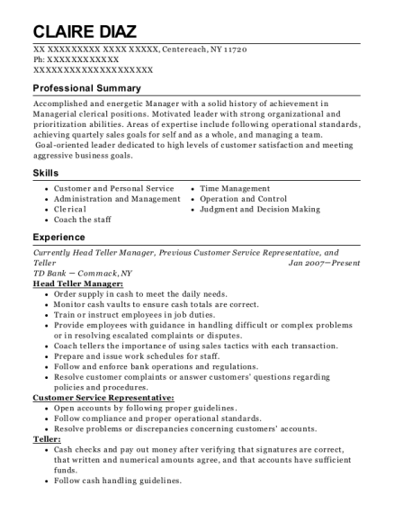 Currently Head Teller Manager resume template New York