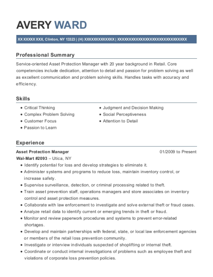 Asset Protection Manager resume template New York