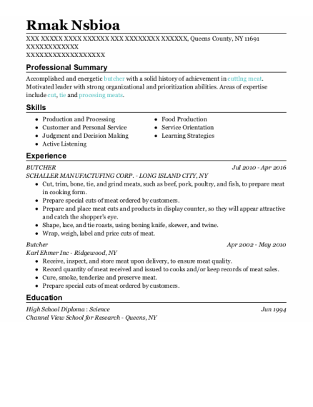 Butcher resume format New York