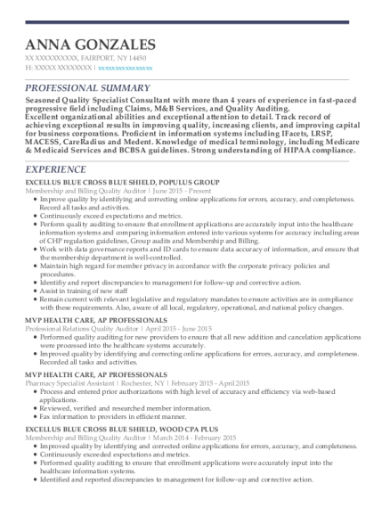 Membership and Billing Quality Auditor resume sample New York