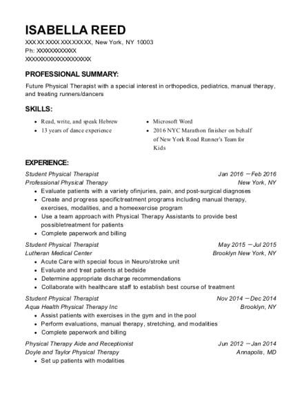 Student Physical Therapist resume format New York