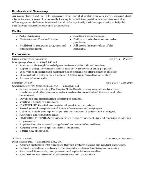 Guest Experience Associate resume example New York