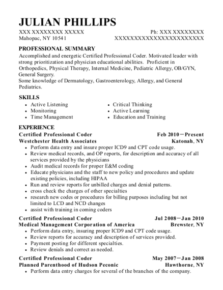Certified Professional Coder resume format New York