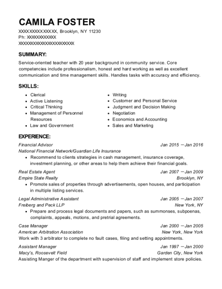 Financial Advisor resume template New York