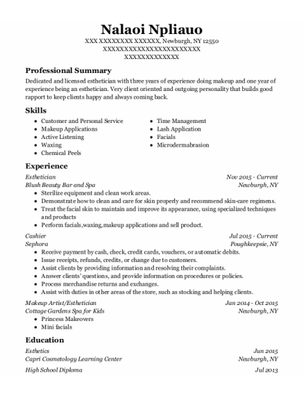 Esthetician resume example New York