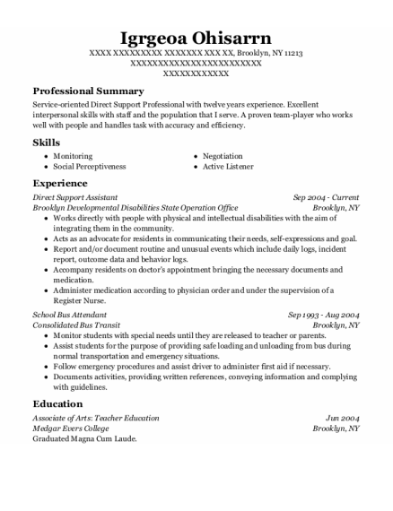 Direct Support Assistant resume sample New York