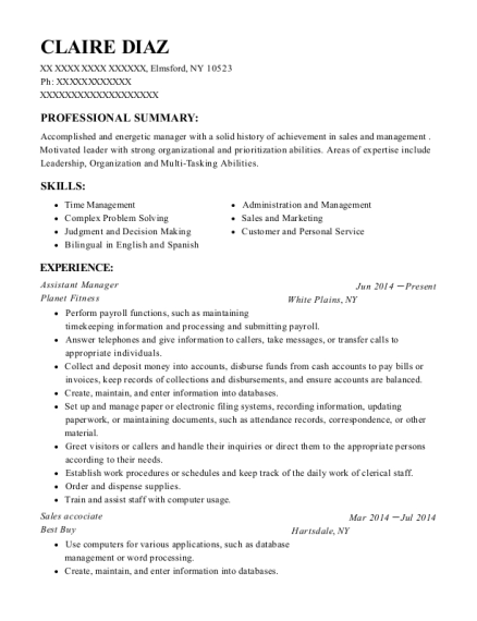 Assistant Manager resume sample New York