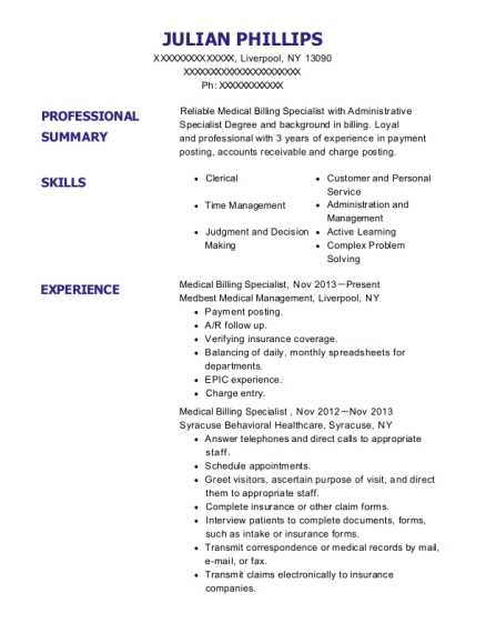 Medical Billing Specialist resume template New York