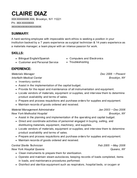 Materials Manager resume example New York