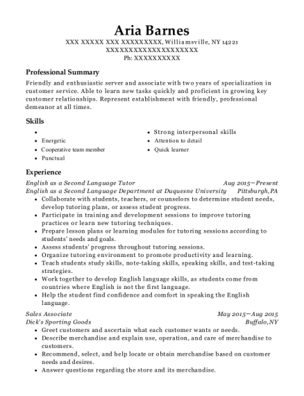 English as a Second Language Tutor resume format New York