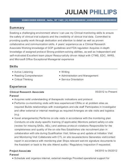 Clinical Research Associate resume sample New York