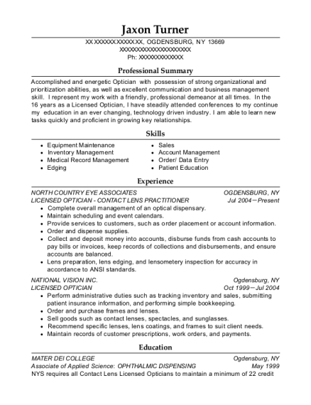 LICENSED OPTICIAN CONTACT LENS PRACTITIONER resume template New York