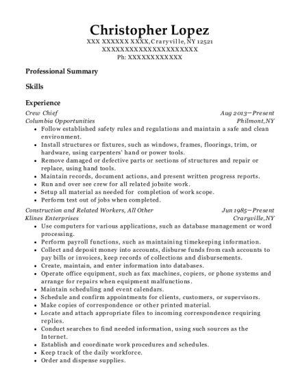 Crew Chief resume template New York