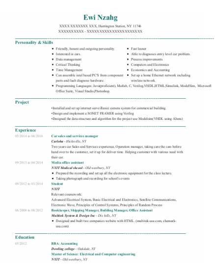 Car sales and services manager resume template New York