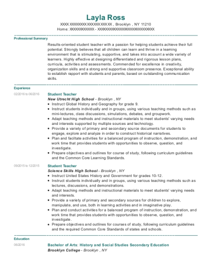 Student Teacher resume sample New York