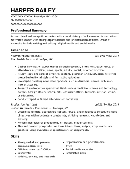 Reporter resume template New York