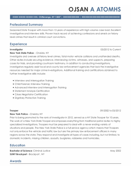 Massachusetts State Police Trooper Resume Sample - Rehoboth