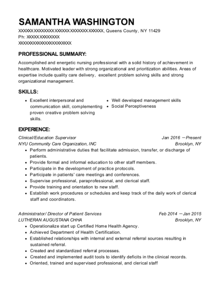 Clinical resume template New York
