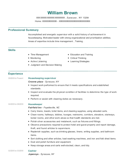 Housekeeping Supervisor resume format New York