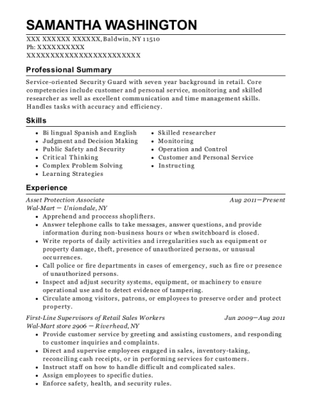 Asset Protection Associate resume example New York