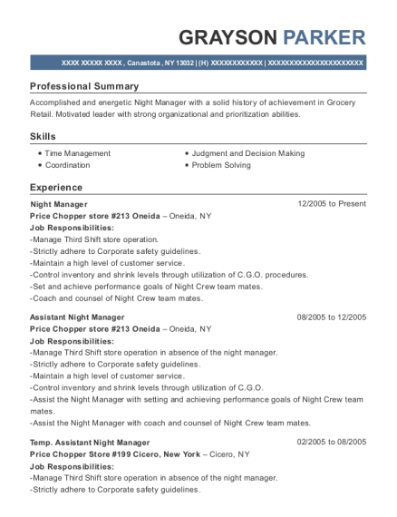 Night Manager resume format New York