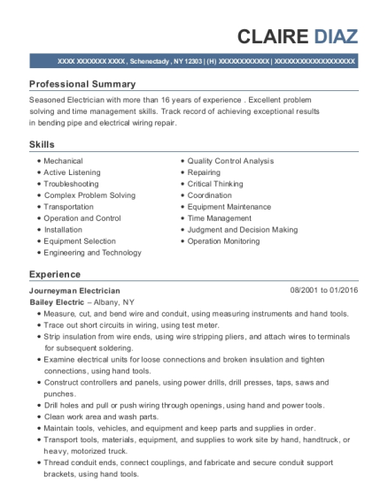 Journeyman Electrician resume sample New York