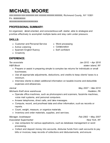 Tax associate resume format New York
