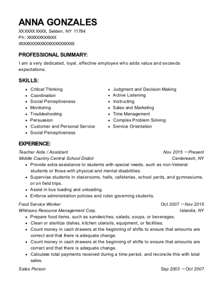 Teacher Aide resume format New York