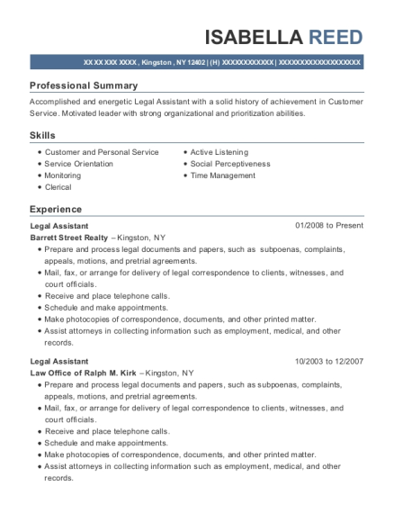 Legal Assistant resume template New York