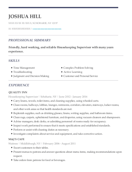 Housekeeping Supervisor resume example New York