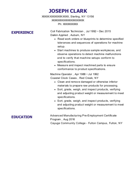 Coil Fabrication Technician resume sample New York