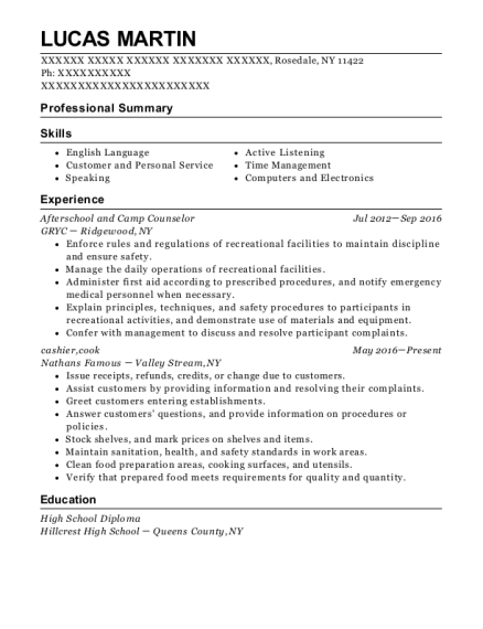 Afterschool and Camp Counselor resume template New York
