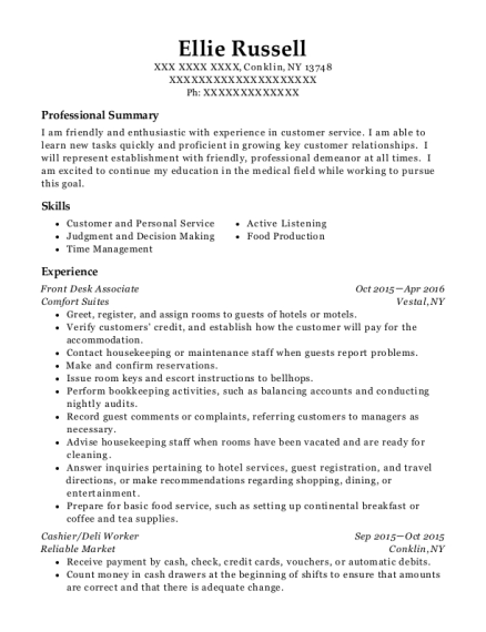 Front Desk Associate resume format New York