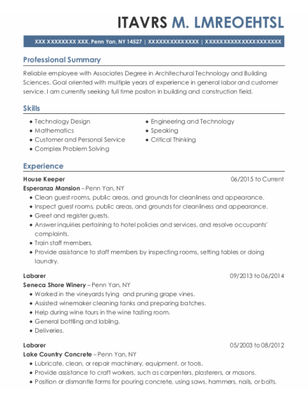 House Keeper resume example New York