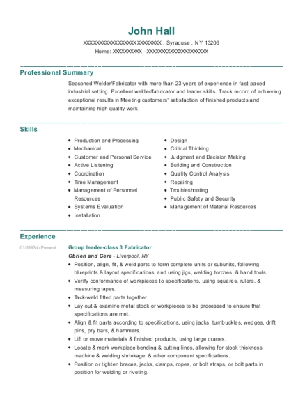 Group leader class 3 Fabricator resume template New York