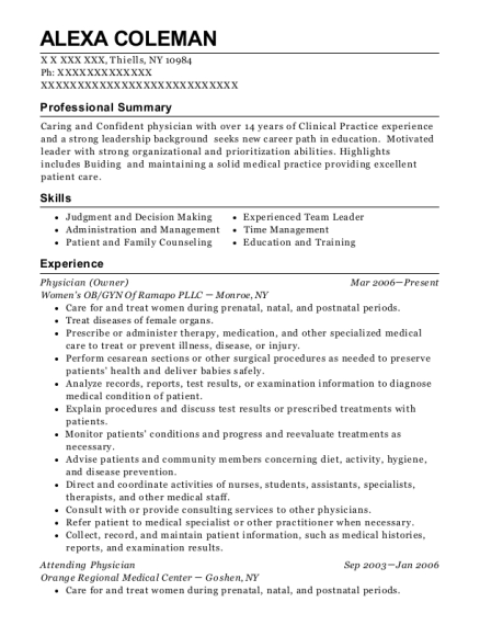 Physician resume example New York
