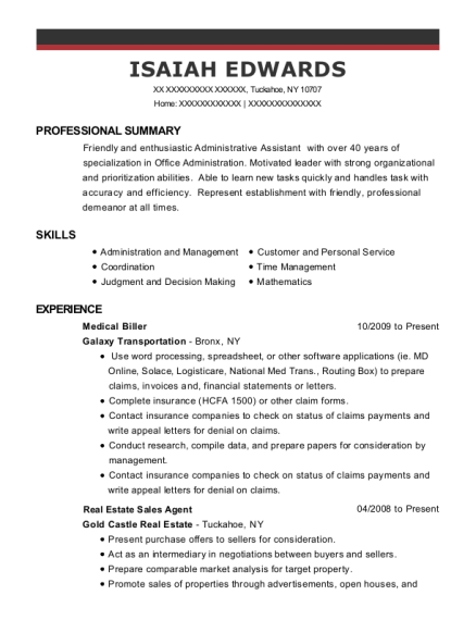 Medical Biller resume format New York