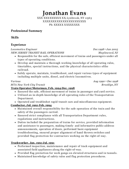 Locomotive Engineer resume sample New York