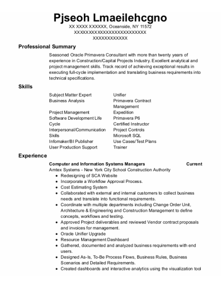 Computer and Information Systems Managers resume sample New York