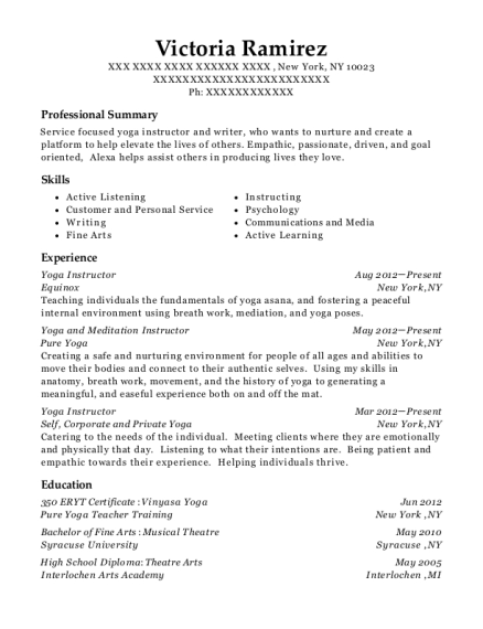 Yoga Instructor resume sample New York