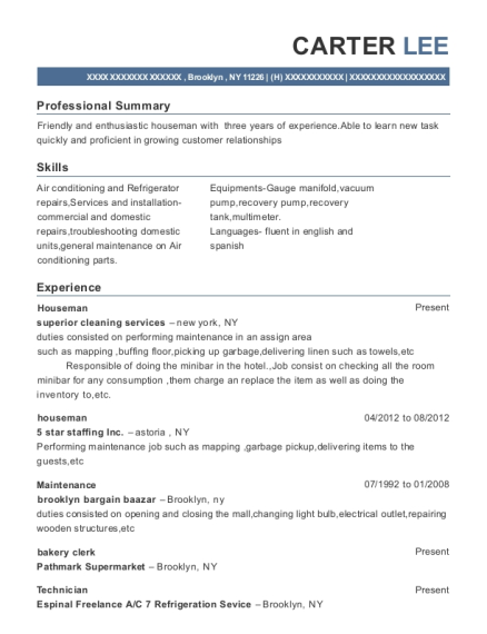 Houseman resume sample New York