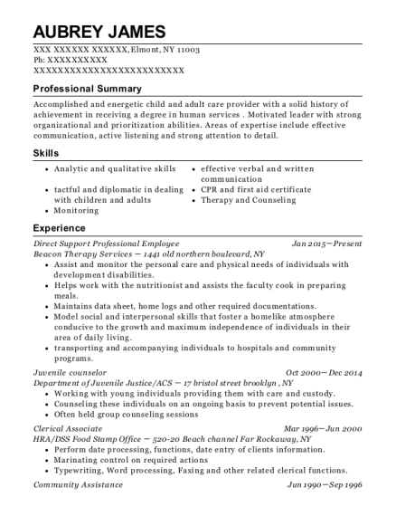 Direct Support Professional Employee resume example New York