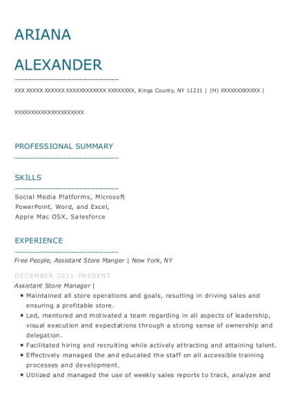 Free People resume format New York
