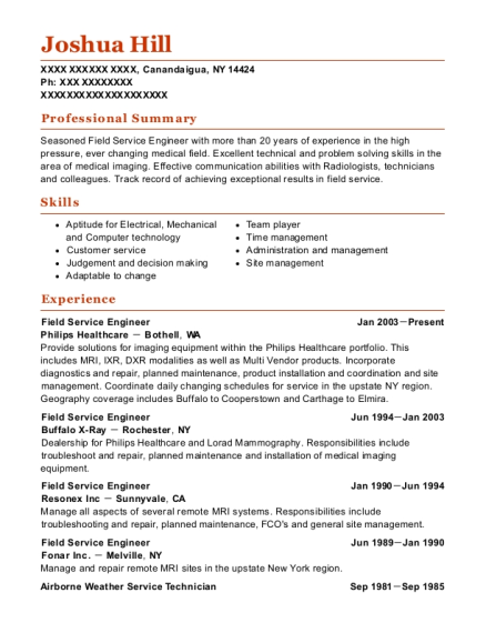 Field Service Engineer resume example New York