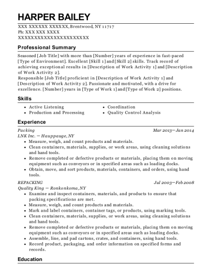 Packing resume template New York