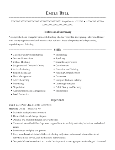 Child Care Provider resume template New York