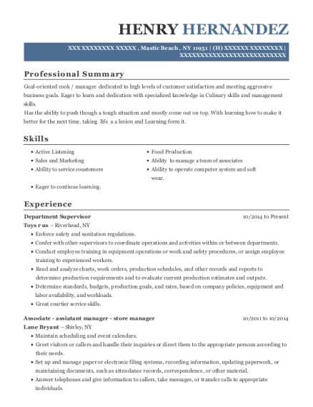 Department Supervisor resume sample New York