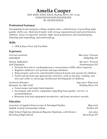 Clerical Assistant resume sample New York
