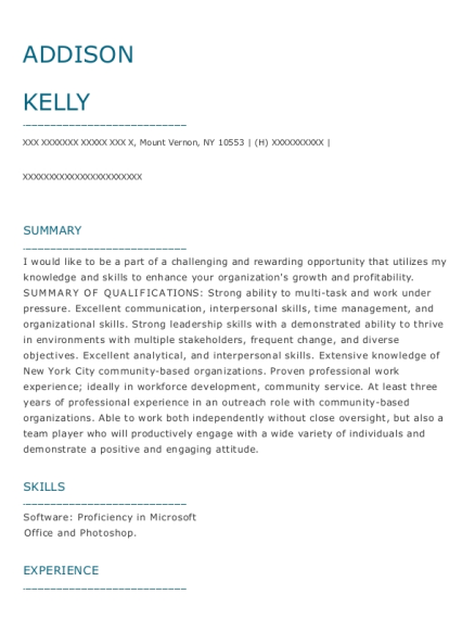 Home Care Worker resume example New York