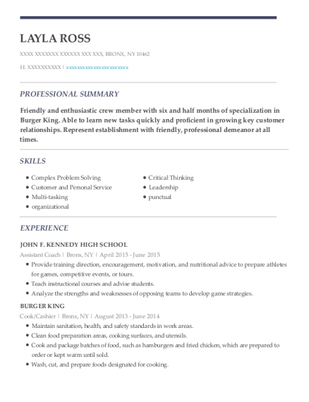 Assistant Coach resume format New York